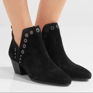 Sam Edelman Rubin Black Suede Split Shaft Booties
